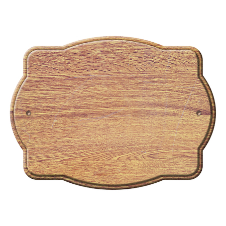 Empty vintage wooden plate isolated on white background Stock fotó