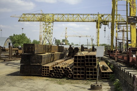 steel pipes of different sections prepared for shipment photo
