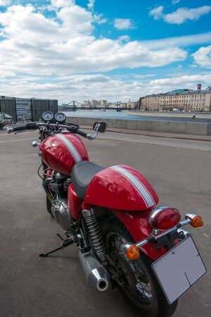 space weather tire: motorcycle on background of the city