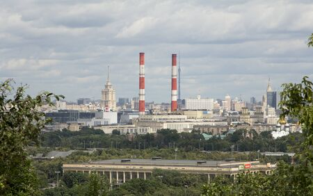 famous industries: Moscow cityscape.scenic views of Moscow from Sparrow Hills