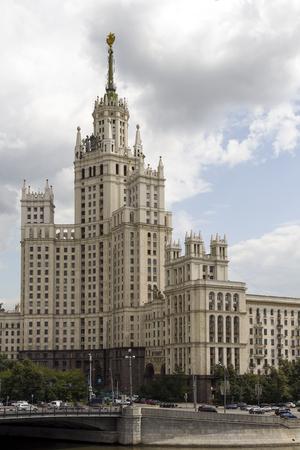 kotelnicheskaya embankment: Kotelnicheskaya Embankment Building tower above Moscow Stock Photo