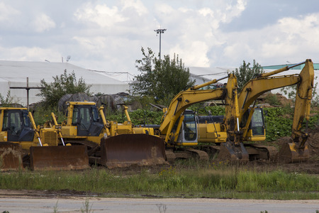 bulldozers: construction machinery, bulldozers and excavators at the site