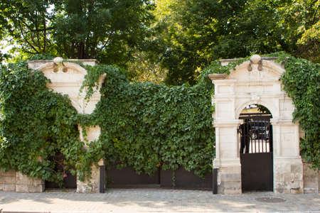 puertas de hierro: Entrada de piedra antigua con puertas de hierro. Mosc�. Rusia