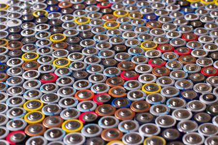used in several rows arranged AAA batteries of different colors and manufacturers