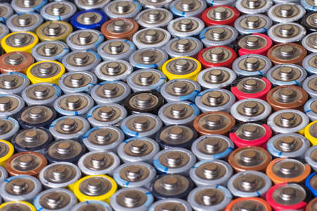used in several rows arranged AAA batteries of different colors and manufacturers Stockfoto
