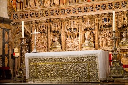 reredos: San salvador de la seo Cathedral altarpiece Stock Photo