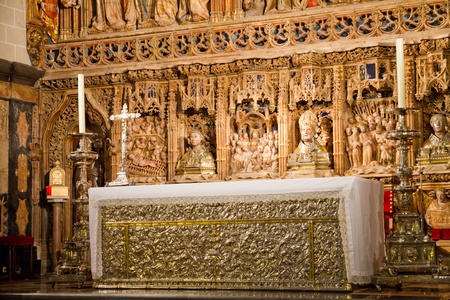 San salvador de la seo Cathedral altarpiece Imagens