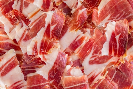 parma ham: jabugo ham plate closeup