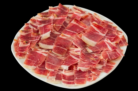 dry-cured ham slices Stock Photo