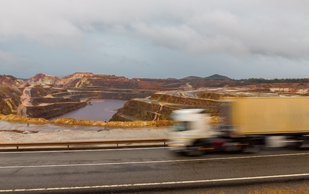Copper mine open pit in Rio Tinto and Truck trail, Spain photo