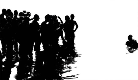 Swimmers in Triathlon, starting the race, high contrast silhouetes