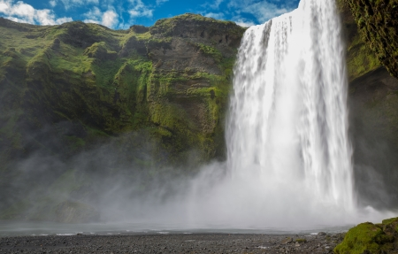 Skogafoss waterfall on the South of Iceland near the town Skogar