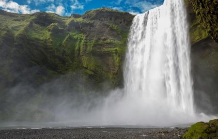 Skogafoss waterfall on the South of Iceland near the town Skogar