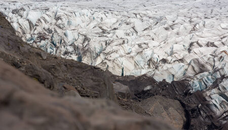 detailed view: Detailed view of svinafellsjokull glacier tongue and ground, Iceland