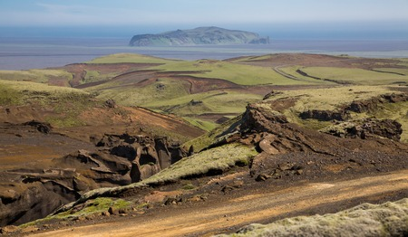 extreme terrain: Track through the extreme terrain in Iceland Stock Photo