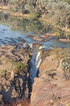 detailed view: Detailed view of Epupa waterfalls in summer time, the border of Angola and Namibia