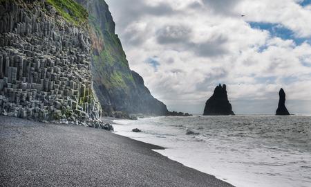 Wide view of Reynisfjara rock formations, Halsanefhellir, Iceland
