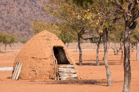 indigence: Closeup of entrance of traditional hut of himba people in Namibia
