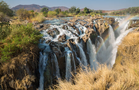 Closeup view of Epupa waterfalls in summer time, the border of Angola and Namibia
