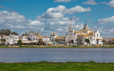 View of El Rocio and lake, cloudy day, Andalucia, Spain Stockfoto