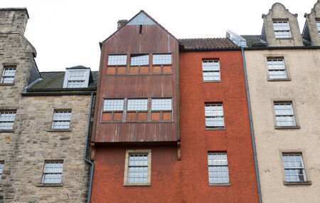wide angle: Wide angle view of vintage facades in Edinburgh