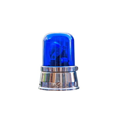 flash light: blue police light over white background