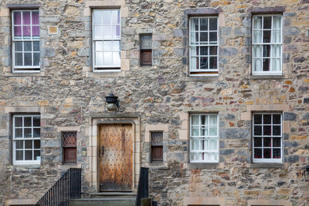 wide angle: Wide angle view of vintage facade in Edinburgh, Front view Stock Photo