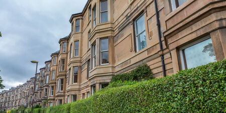 wide angle: Wide angle view of vintage facades in Edinburgh, cloudy day Stock Photo