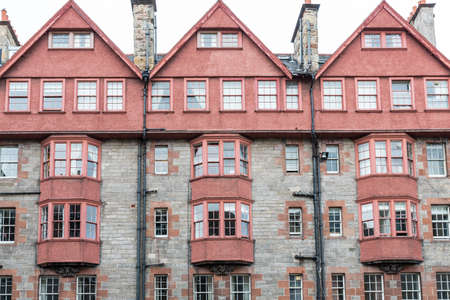 wide angle: Wide angle view of vintage facades in Edinburgh, front view.