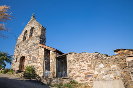 castilla: Stone Church in Rihonor de Castilla Stock Photo