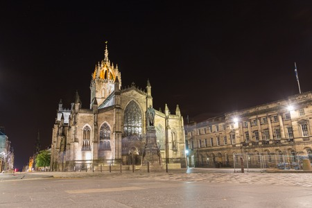 crown spire: Facade of St Giles Cathedral  by night