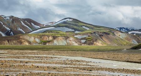 unbelievable: Landmannalaugar unbelievable colorful landscape and river, Iceland Stock Photo