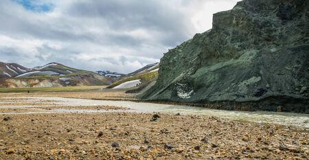 unbelievable: Landmannalaugar unbelievable landscape with tourists, river and green mountain Stock Photo