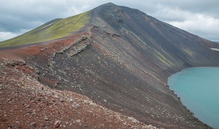 barrenness: Vulcano crater with water in Iceland