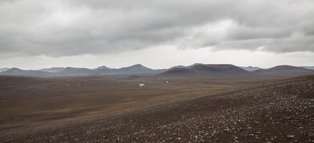 barrenness: Barrenness of Landmannalaugar in Iceland with tourist cars