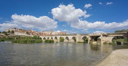 Tordesillas, a town in Spain with Duero River, beach and bridge