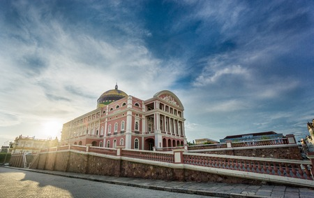 MANAUS - AUG 9: Amazonas Theatre on a sunny day on August 9, 2014 in Manaus, Brazil. The opera house was built when fortunes were made in the rubber boom.