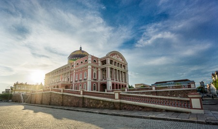 MANAUS - AUG 9: Amazonas Theatre at sunset on August 9, 2014 in Manaus, Brazil. The opera house was built when fortunes were made in the rubber boom.