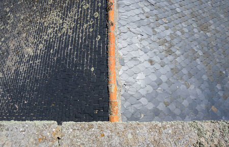 slate roof: Slate roof, top view Stock Photo