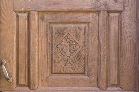 marqueteria: Antiguo marrón decadencia religiosa puerta de madera decorada