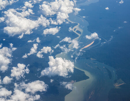 amazon forest: Aerial view of amazon forest and river