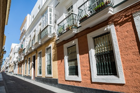''wide angle'': Street in old town cadiz, wide angle Stock Photo