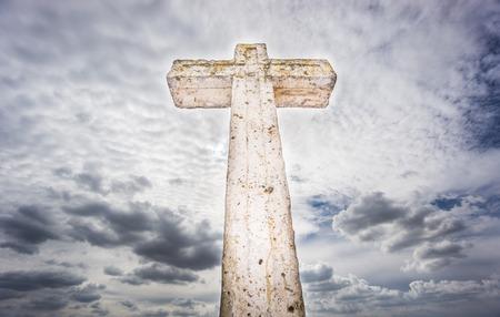 ''wide angle'': Cross over cloudy sky, wide angle