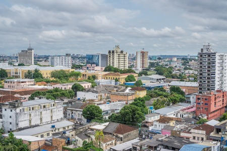 Colorful houses, cloudy sky in Manaus, Brazil