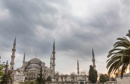 cloudy sky: Blue mosque against cloudy sky, Istanbul, Turkey