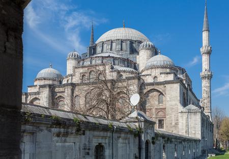 suleymaniye: Side view of Suleymaniye mosque, blue sky