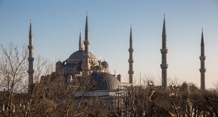 roof profile: Side view of Blue mosque profile in Istanbul at sunset, Turkey