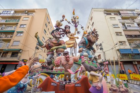 falla: VALENCIA, SPAIN - MARCH 15: Detailed view of Marco Merenciano - Gayano Lluch falla for Las Fallas (the fires in Valencian) exhibition on march 15, 2015 in Valencia, Spain