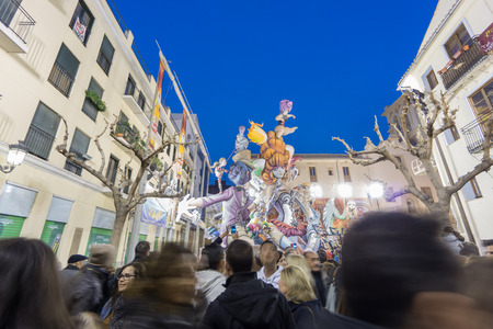 falla: VALENCIA, SPAIN - MARCH 15: Detailed view of El Pilar falla with many tourists in Las Fallas (the fires in Valencian) exhibition on march 15, 2015 in Valencia, Spain Editorial