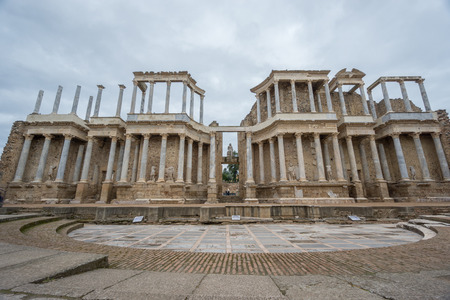 The Roman Theatre in Merida, Spain. Front View photo